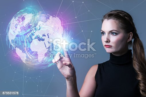 872677426 istock photo Futuristic woman and global network concept. Abstract mixed media. 875531578