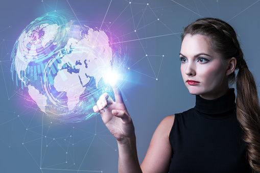 istock Futuristic woman and global network concept. Abstract mixed media. 875531578