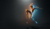 istock Futuristic Woman Dance Pose 1300011415