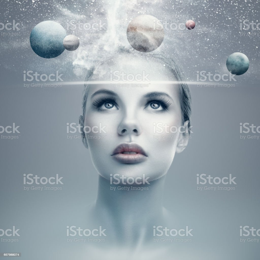 Futuristic woman portrait stock photo