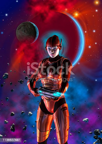 istock Futuristic woman soldier, armed with gun, 3d illustration 1138832661
