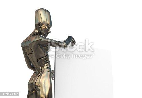 istock Futuristic woman with big board 119821317