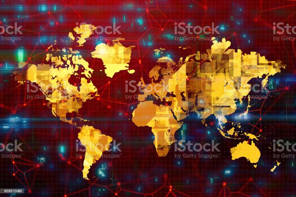 Futuristic World Map Backgrounds stock photo