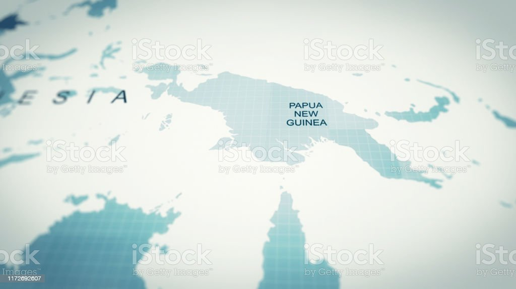 Futuristic World Map Papua New Guinea Stock Photo Download Image Now Istock