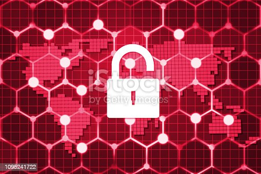 istock Futuristic world network protection data on computer screen background 1095241722