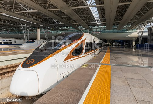 Shanghai, China - December 5, 2019: A Fuxing high-speed bullet train at the platform of Hongqiao Railway station waiting for passenger boarding, Shanghai, China.