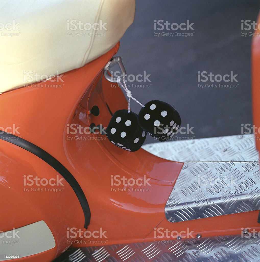 Fuzzy Dice On Orange Scooter Stock Photo More Pictures Of Animal