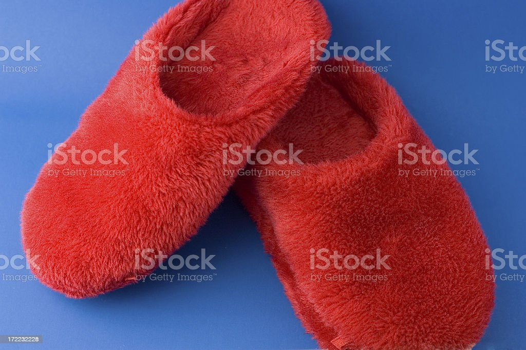 Fuzzy Red Slippers royalty-free stock photo
