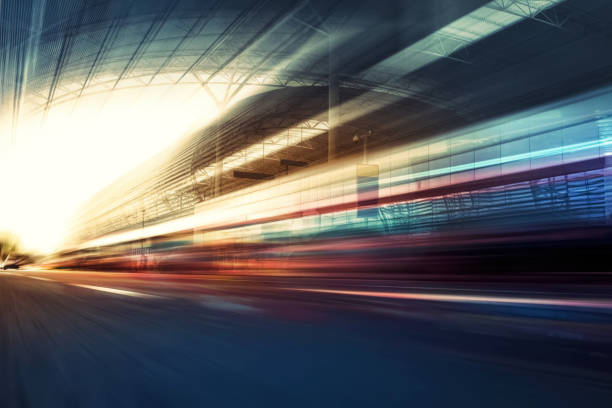 Fuzzy velocity and dynamics of tunnel traffic stock photo