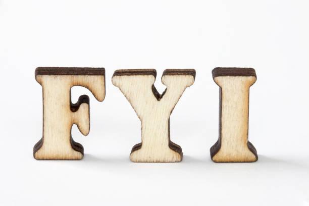 fyi, zu ihrer information - 3d typografie stock-fotos und bilder