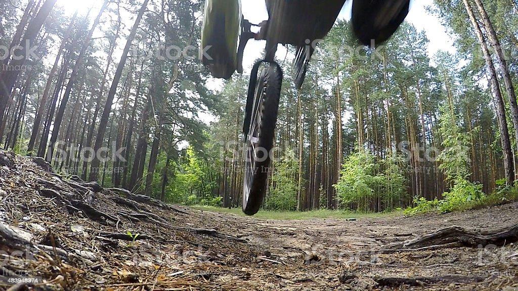 Fying, jumping mountain bike. stock photo