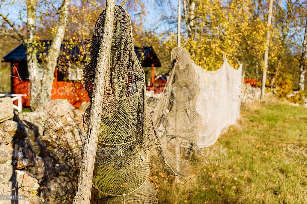 Fyke and fishing net zbiór zdjęć royalty-free