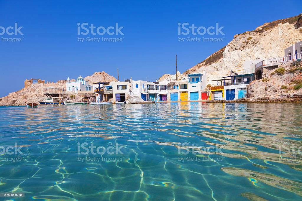 Fyropotamos bay in Milos, Greece stock photo