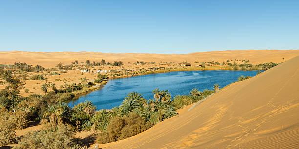 Gaberoun Lake - Desert Oasis, Sahara, Libya stock photo