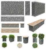 Gabion - stones in wire mesh. Wall, bench, flower pots with plants of the rocks and metal grates. Isolated on white background. Front view, side view, top view.