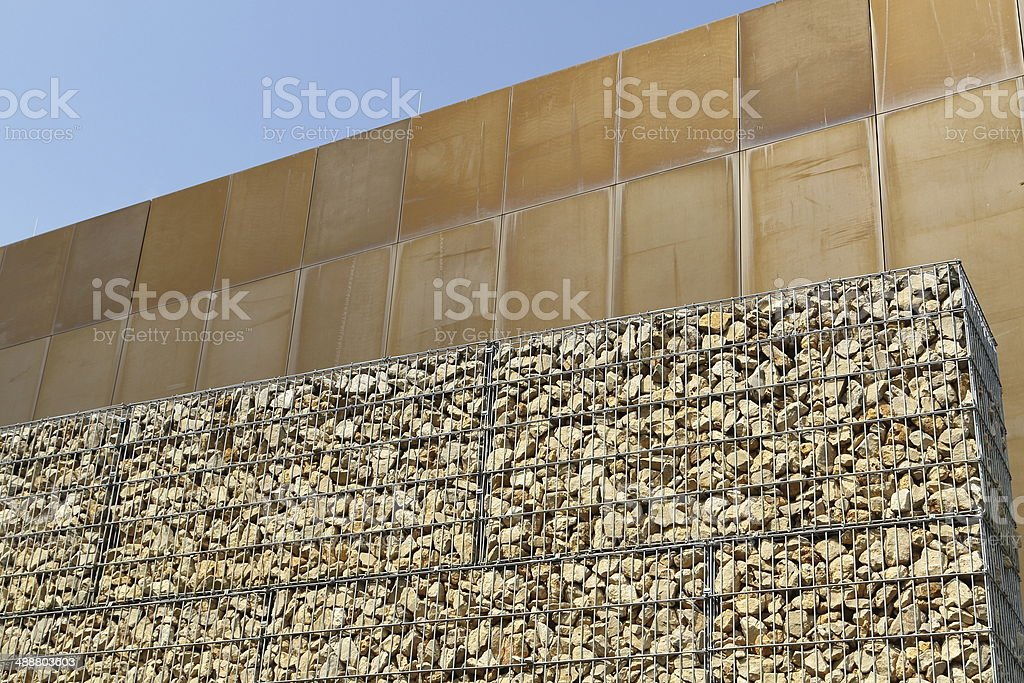 Gabion wall royalty-free stock photo