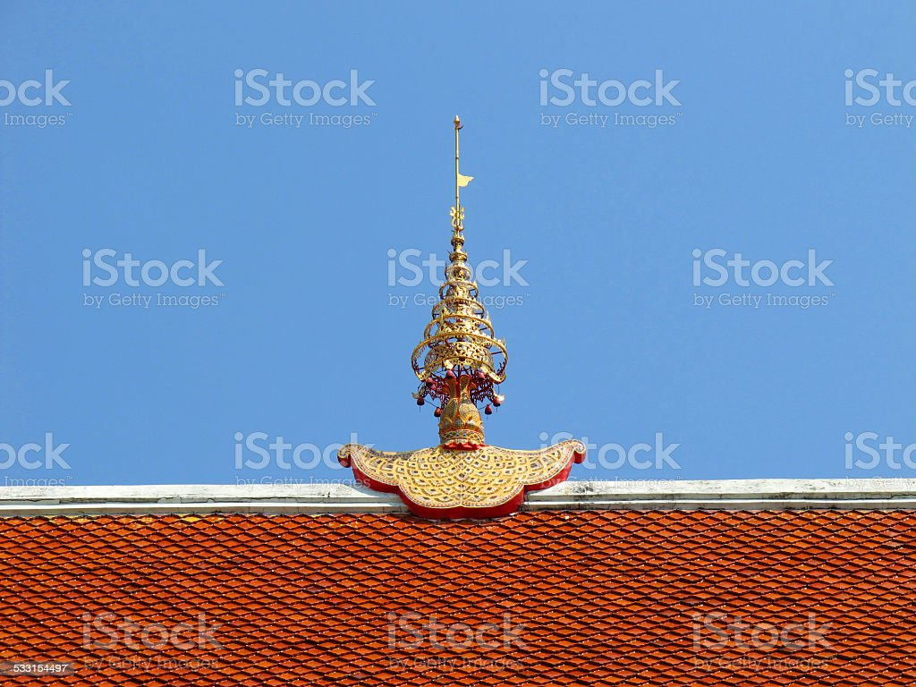 Gable apex on the temple roof stock photo