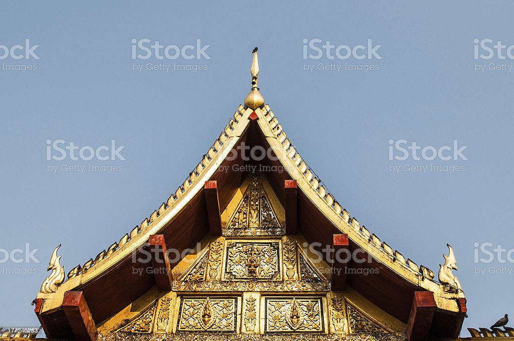 Gable of the church at Wat Phra Sri Rattana Mahatat royalty-free stock photo