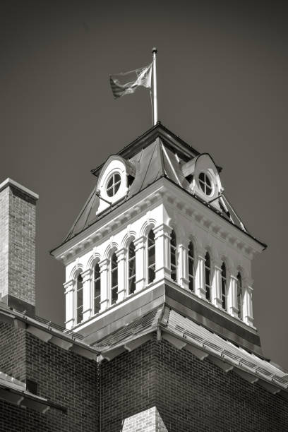 Gable of the food market of Saint-Hyacinthe, Quebec black and white stock photo