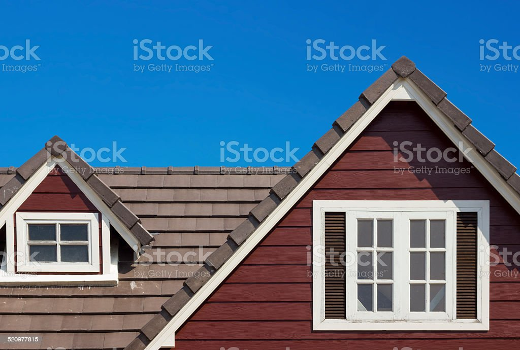 gable of the house stock photo