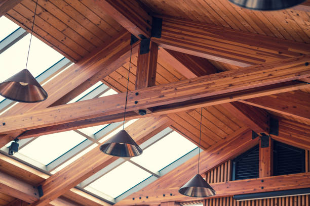 Gable roof interior stock photo