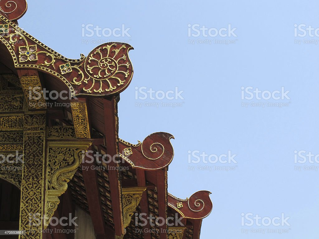 Gable roof of the temple stock photo