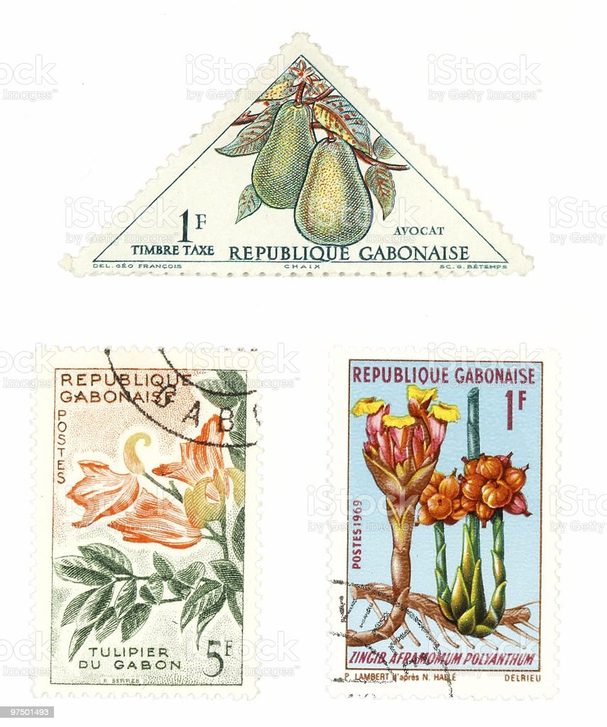 Gabon post stamps with plants royalty-free stock photo