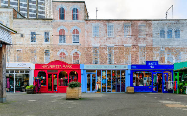 Gabriel's Wharf in South Bank is one of city's oldest pop ups with eclectic shops, cafes, bars in London, England stock photo