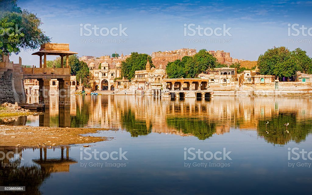 Gadi Sagar (Gadisar) Lake, Jaisalmer, Rajasthan, India, Asia stock photo