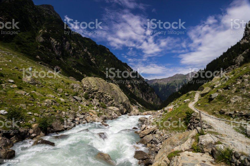 Gadmertal valley near Gadmen in Switzerland stock photo