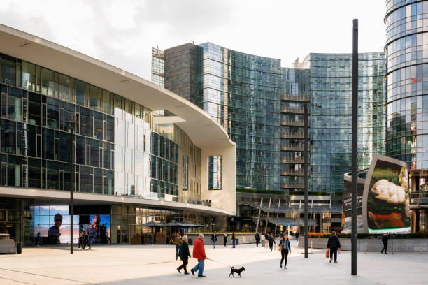 Gae Aulenti square in modern business district, Milan stock photo