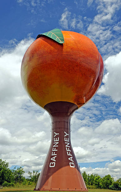 Gaffney SC Peach Water Tower Gaffney, South Carolina, USA - May 18, 2011:  The famous peach shaped water tower in Gaffney, South Carolina supplies fresh water to the local residents. spartanburg stock pictures, royalty-free photos & images