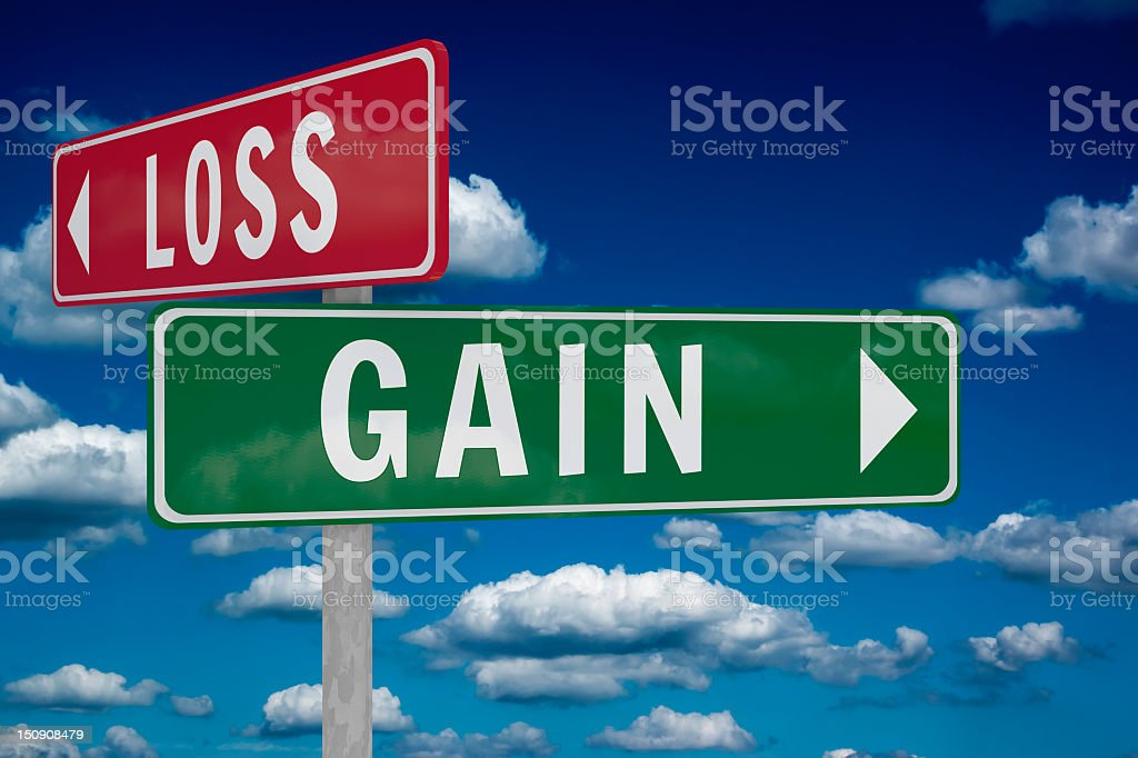 Gain and Loss road signs. stock photo