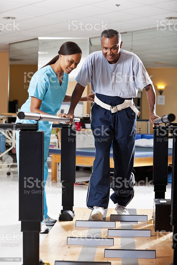 Gait training physical therapy stock photo
