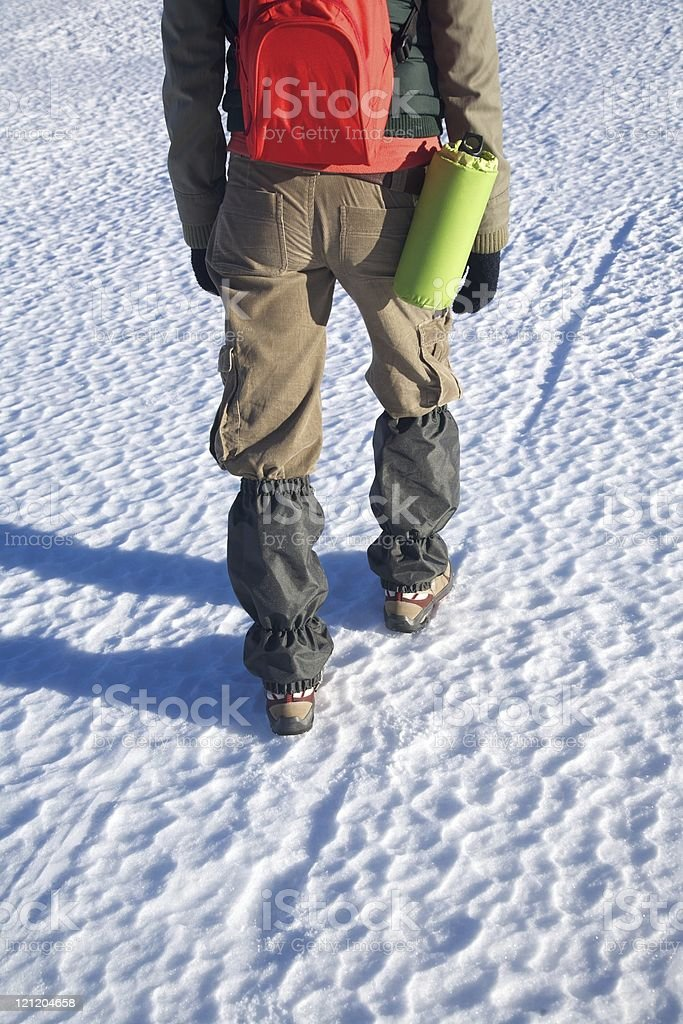 gaiters on trousers of trekking woman stock photo