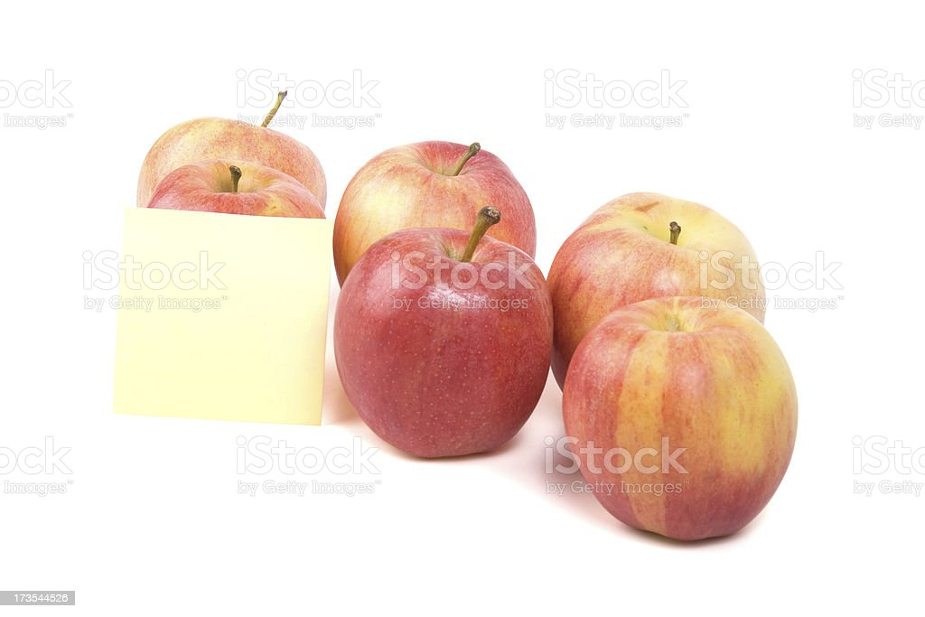 Gala apples closeup with note paper royalty-free stock photo