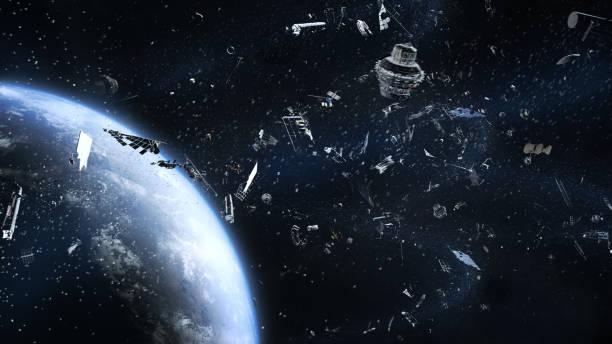 poubelle galactique en orbite autour de la terre - dechets photos et images de collection