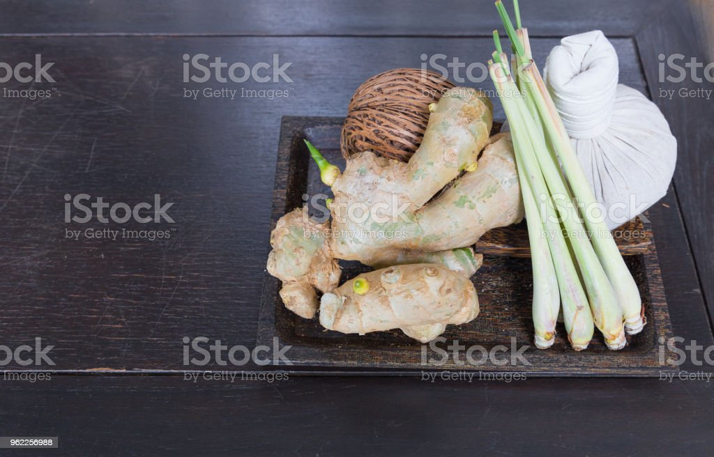 Galangal lemon grass and pack compress in wood plate use for thai...