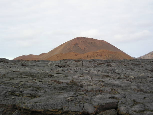 galapagos lave field and ash cone - mcdermp stock pictures, royalty-free photos & images