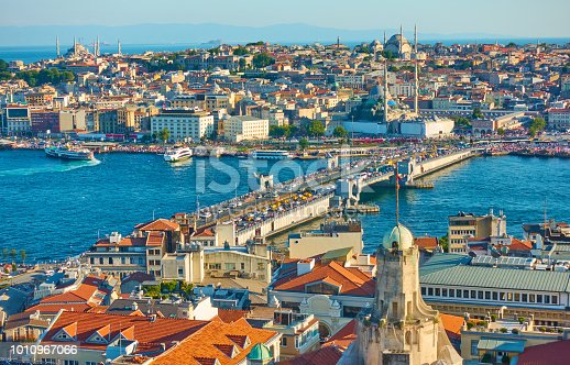 The Galata Bridge and panoramic view of Fatih - old town of Istanbul, Turkey
