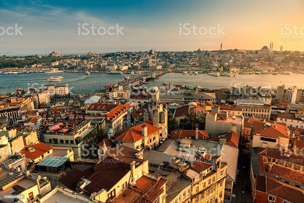 Galata bridge in Istanbul, Turkey stock photo