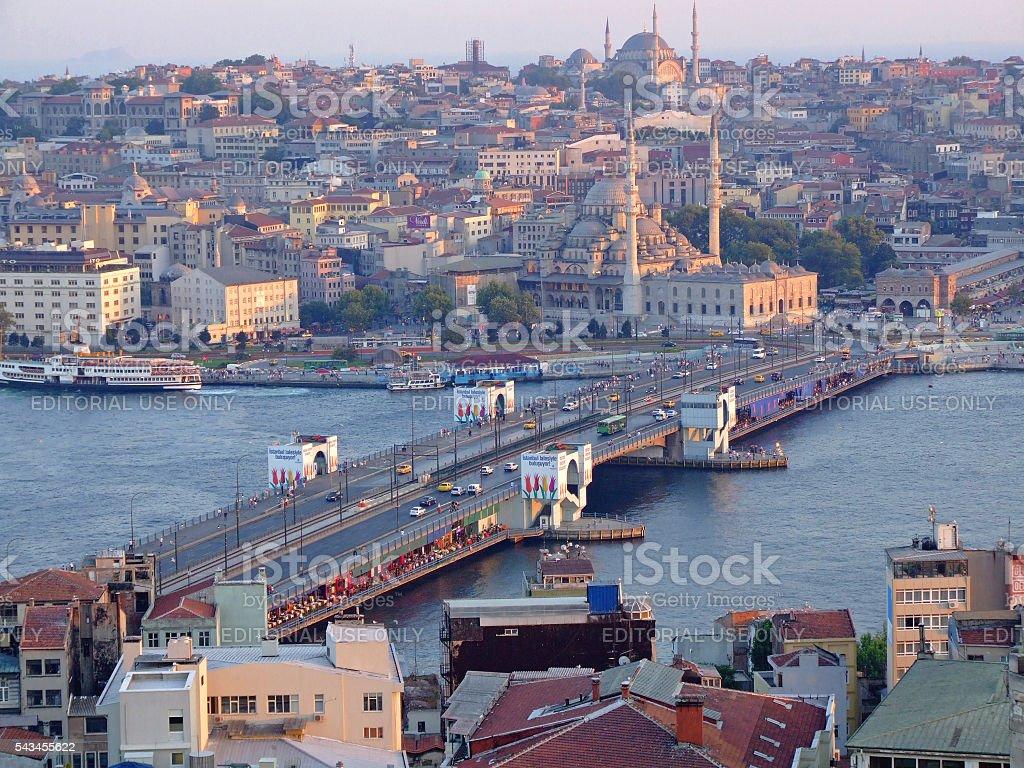 Galata Bridge Istanbul stock photo