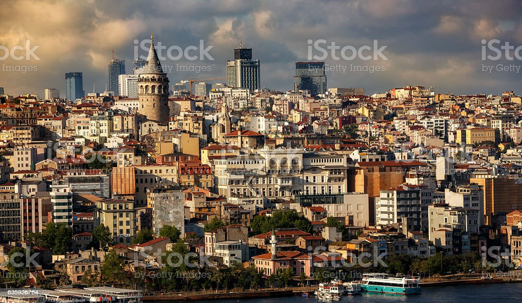 Galata district in Istanbul stock photo