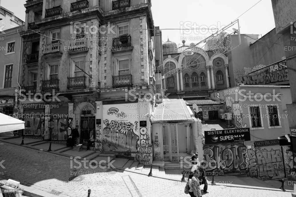 Galata District in Istanbul. stock photo