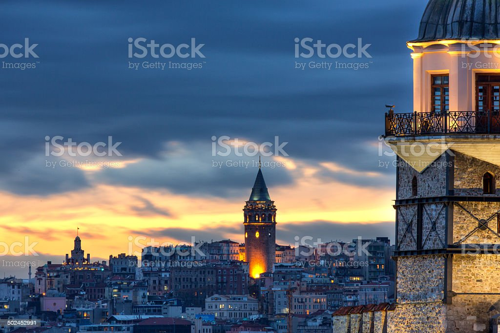 Galata Tower and Maiden Tower stock photo