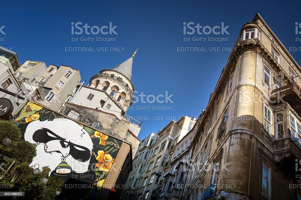 Galata Tower And Old Apartments, Istanbul, Turkey stock photo