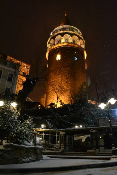 Galata Tower at Snowfall in Winter İstanbul, Turkey stock photo