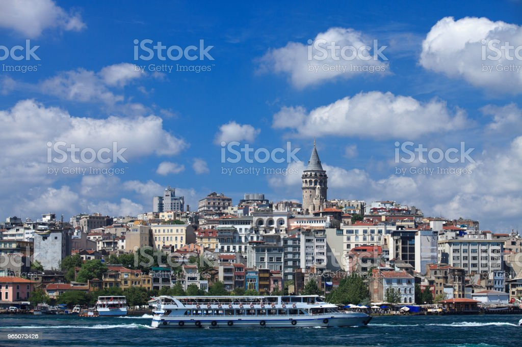 Galata tower district, Istanbul royalty-free stock photo