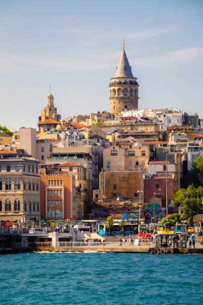 galata tower from byzantium times in istanbul - каракёй стамбул стоковые фото и изображения