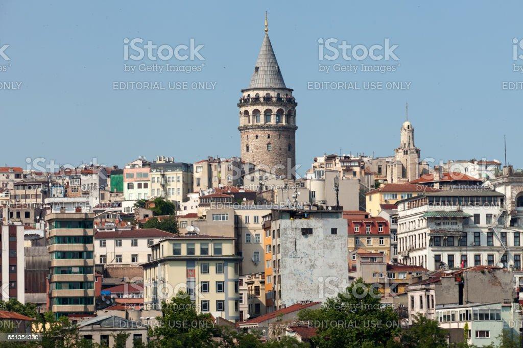 Galata tower in Beyoglu district of Istanbul, Turkey stock photo